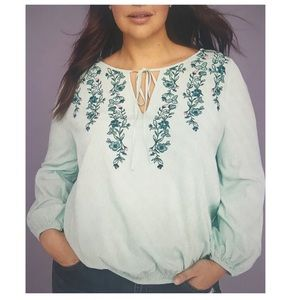 Lane Bryant Embroidered Peasant Top NWOT Size 24